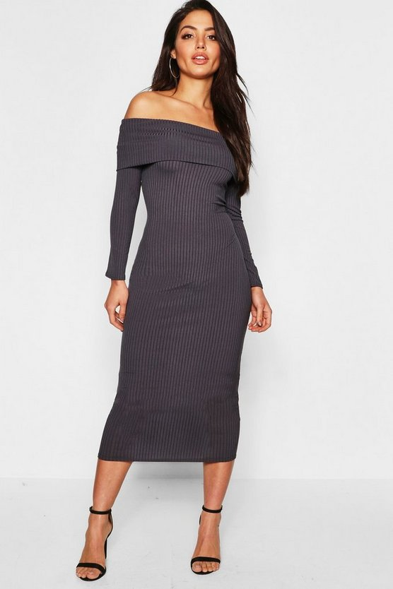 Jumbo Rib Bardot Midi Dress