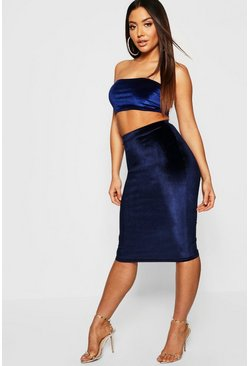 Womens Navy Velvet Midi Skirt