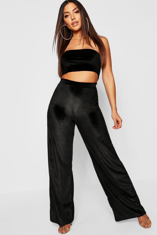 Vintage High Waisted Trousers, Sailor Pants, Jeans Womens Velvet Wide Leg pants - black - 8 $18.00 AT vintagedancer.com