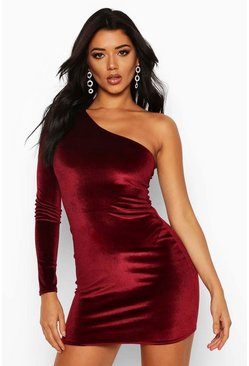Womens Berry Velvet One Shoulder Bodycon Dress