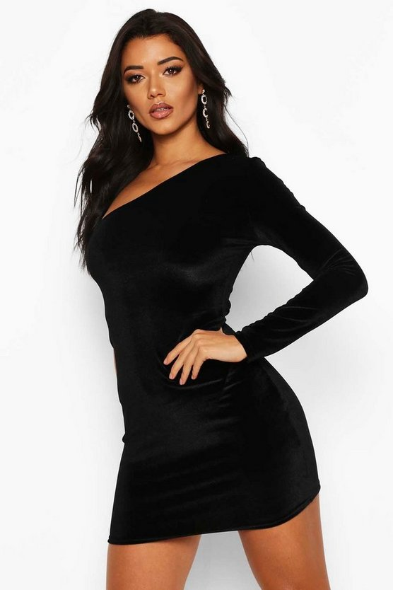 Womens Black Velvet One Shoulder Bodycon Dress