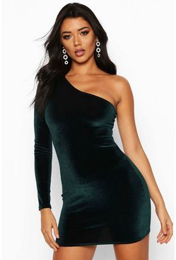 Velvet One Shoulder Bodycon Dress, Emerald, Donna