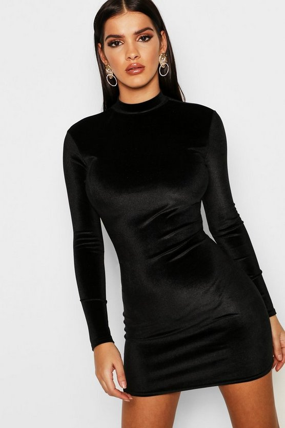 Womens Black Velvet High Neck Bodycon Dress
