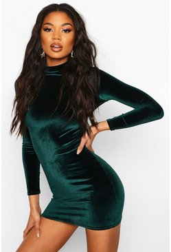 Womens Emerald Velvet High Neck Bodycon Dress