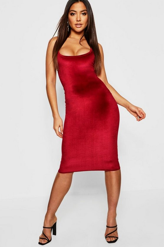 Womens Berry Velvet Square Neck Midi Dress
