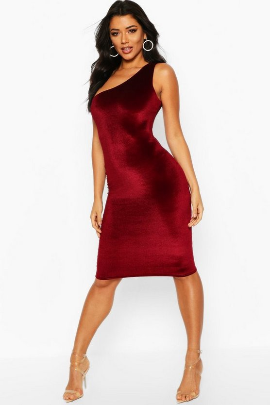 Berry Velvet One Shoulder Midi Christmas Party Dress