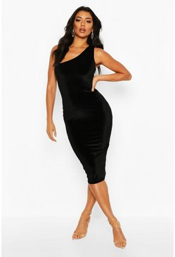 Womens Black Velvet One Shoulder Midi Dress