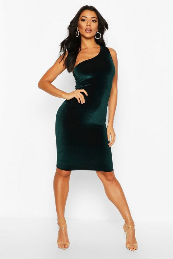 Emerald Velvet One Shoulder Midi Christmas Party Dress