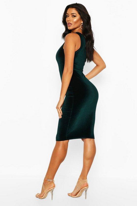 Velvet One Shoulder Midi Dress