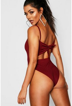 Berry Ribbed Tie Back Bodysuit