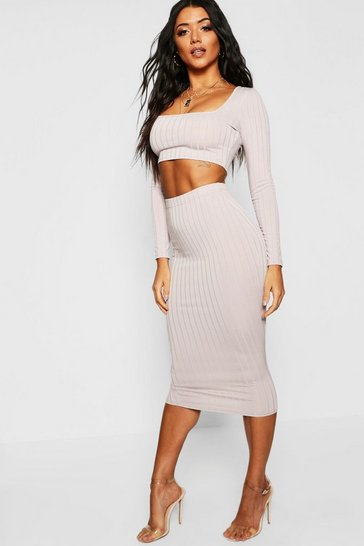 Womens Grey Basic Ribbed High Waist Fitted Midaxi Skirt