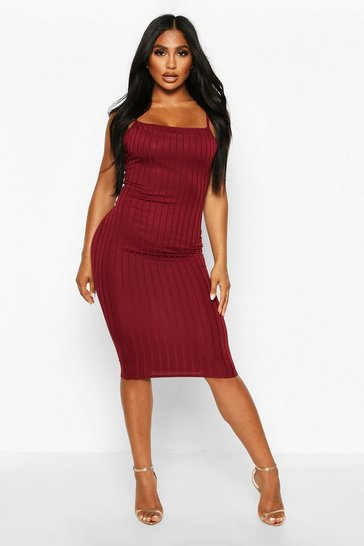 Womens Berry Ribbed Low Back Midi Dress