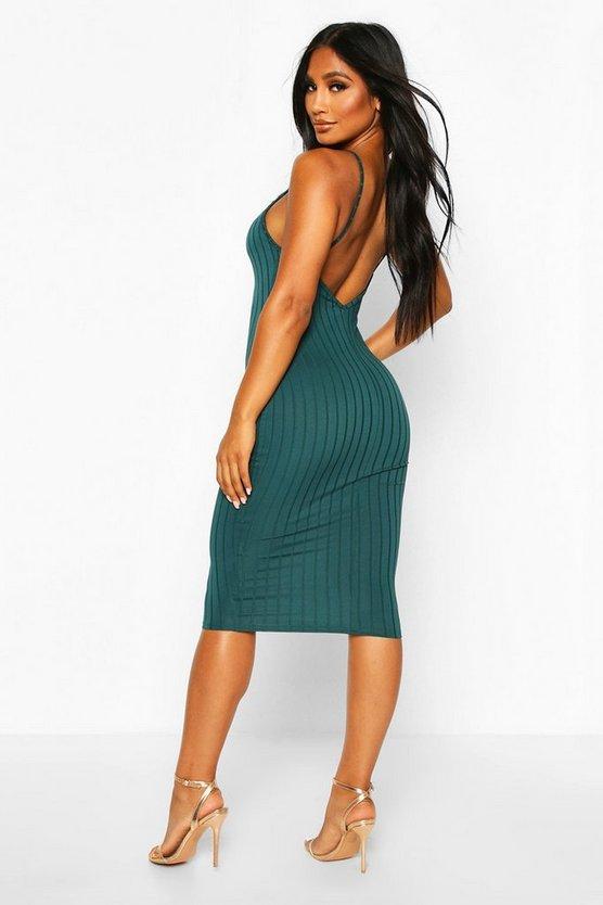 Ribbed Low Back Midi Dress