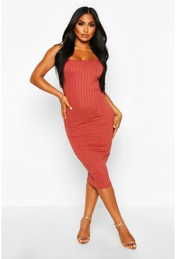 Womens Terracotta Ribbed Low Back Midi Dress