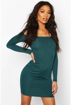 Womens Teal Ribbed Low Scoop Neckline Bodycon Dress
