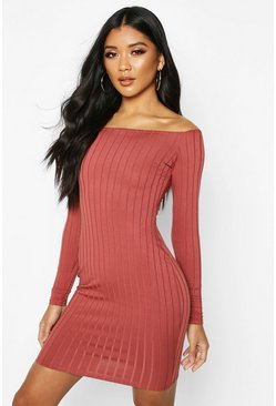 Terracotta Ribbed Low Scoop Neckline Bodycon Dress