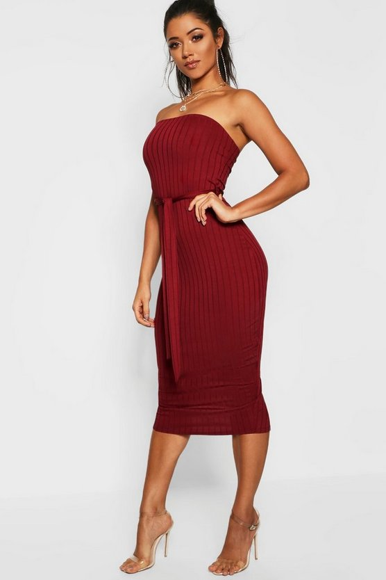 Womens Berry Ribbed Bandeau Belted Midi Dress