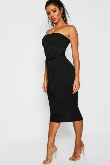 Womens Black Ribbed Bandeau Belted Midi Dress