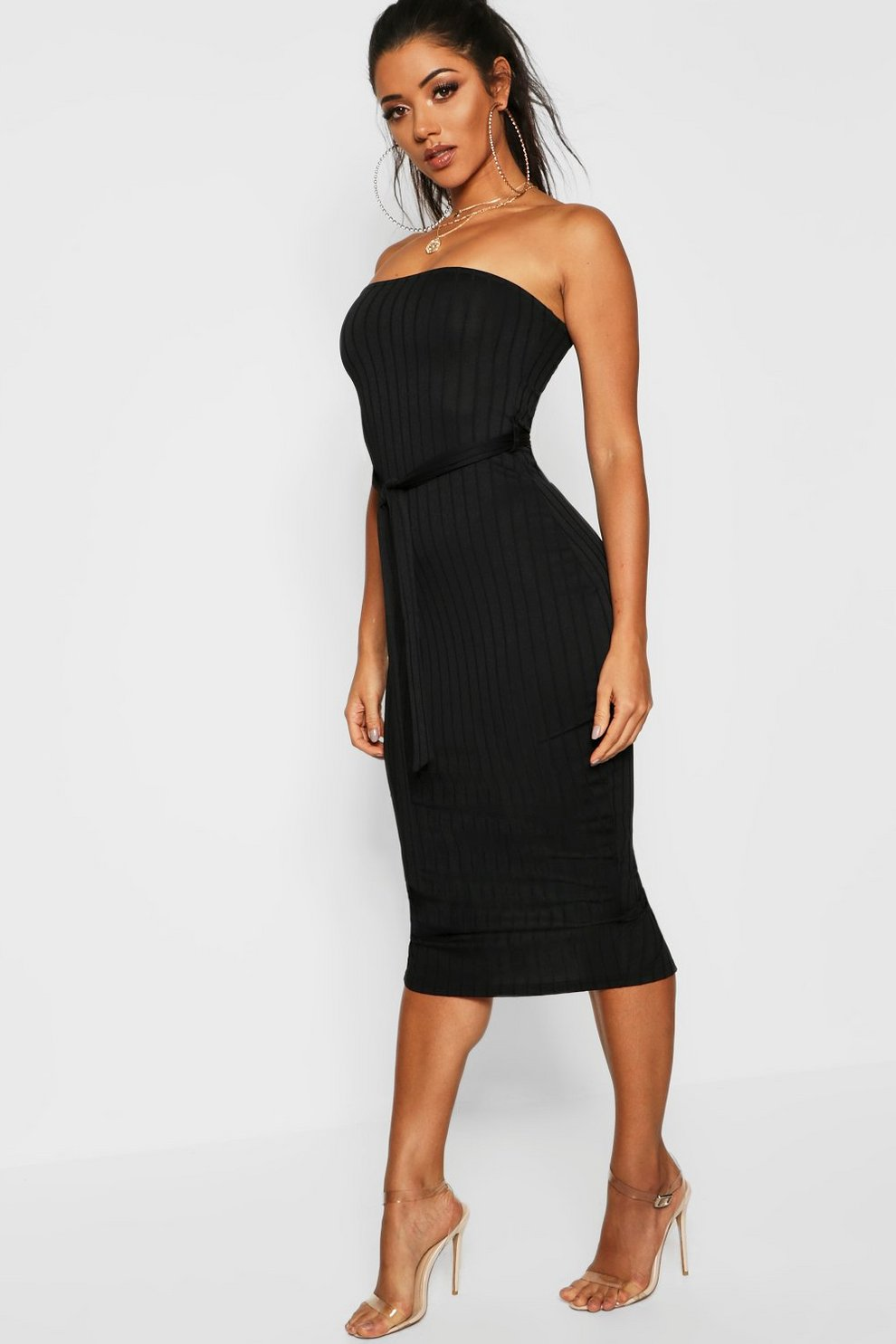 22816d6db20 Ribbed Bandeau Belted Midaxi Dress