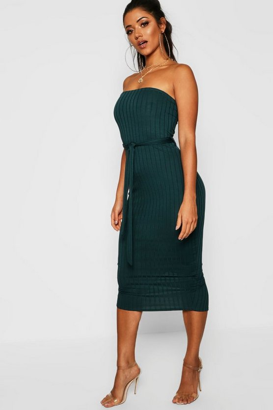Ribbed Bandeau Belted Midaxi Dress