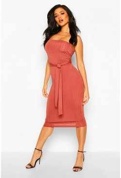 Terracotta Ribbed Bandeau Belted Midi Dress