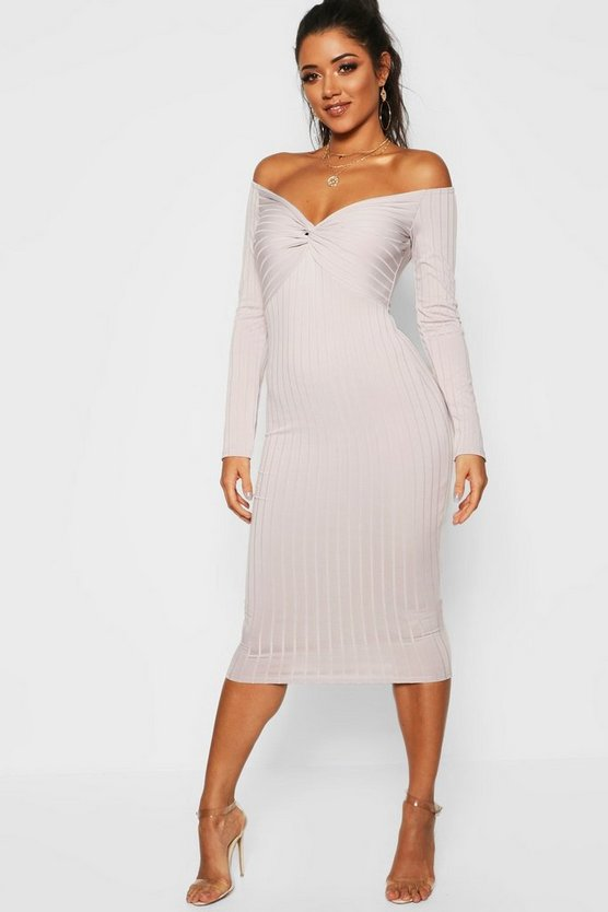 Ribbed Off The Shoulder Twist Midi Dress