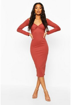 Womens Terracotta Ribbed Off The Shoulder Twist Midi Dress