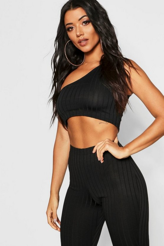 Womens Black Ribbed One Shoulder Crop Top