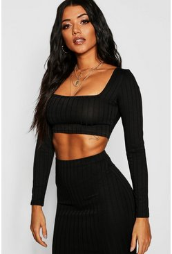 Womens Black Ribbed Long Sleeve Crop Top