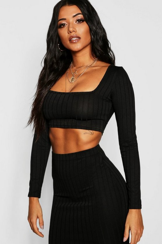 Womens Ribbed Long Sleeve Crop Top