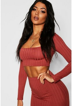 Womens Terracotta Ribbed Long Sleeve Crop Top