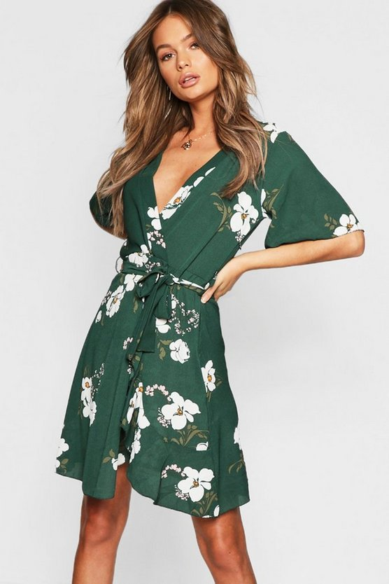 Womens Bottle green Floral Ruffle Tie Midi Dress