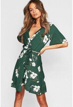 Floral Ruffle Tie Midi Dress, Bottle green, Donna
