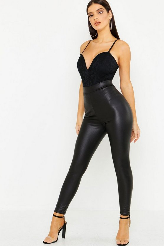 Womens Black Leather Look Chevron Detail Stretch Leggings
