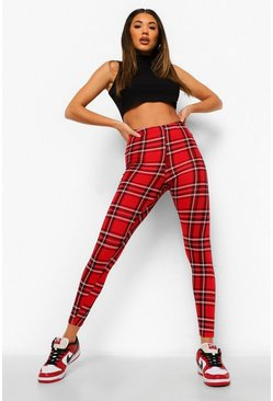 Womens Red Tartan Leggings