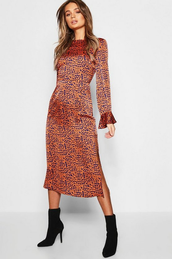 Leopard Satin Flute Sleeve Midaxi Dress