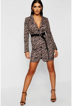 Womens Mocha Zebra Print Woven Blazer Dress