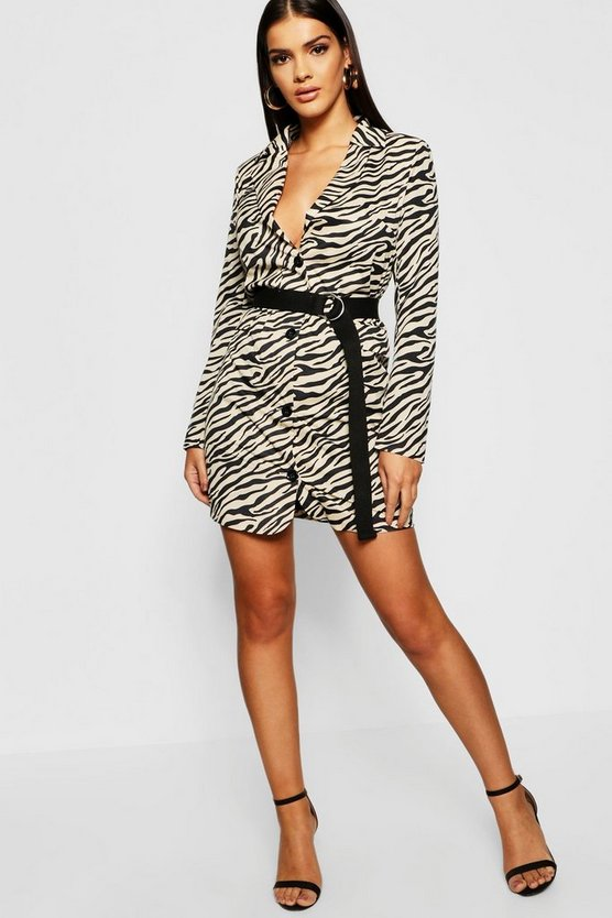 Womens Stone Zebra Print Woven Blazer Dress