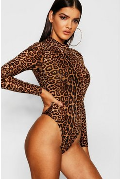 Body de malla con cuello alto y estampado de leopardo, Marrón
