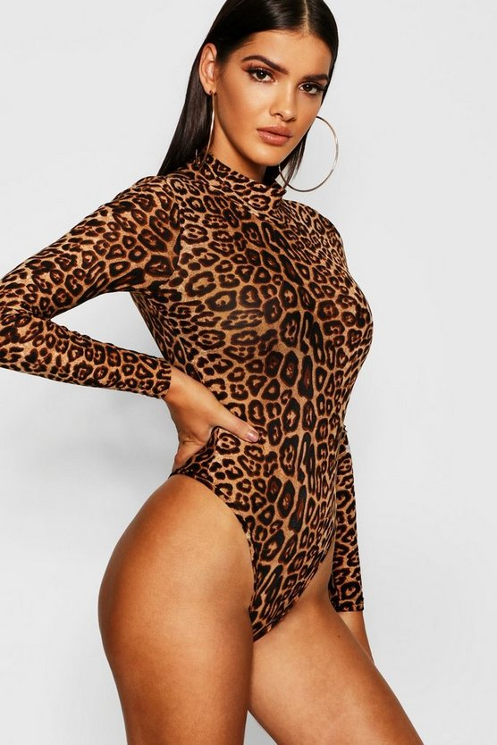 Womens Brown Leopard Mesh High Neck Bodysuit
