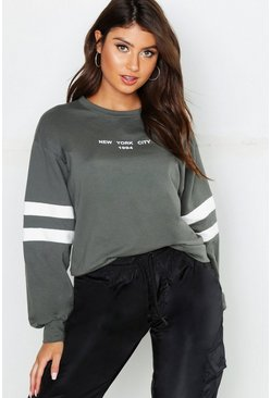 Womens Khaki New York City 1994 Slogan Sweat