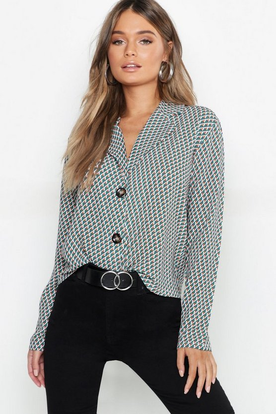 Womens Green Geo Print Button Boxy Shirt