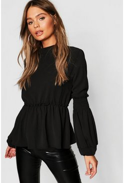 Black Woven Shirred Balloon Sleeve Blouse