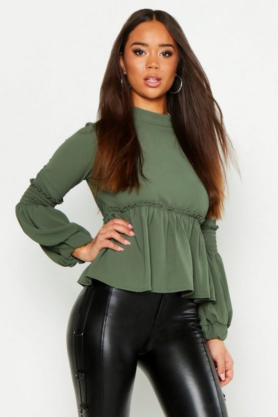 Womens Khaki Woven Shirred Balloon Sleeve Blouse
