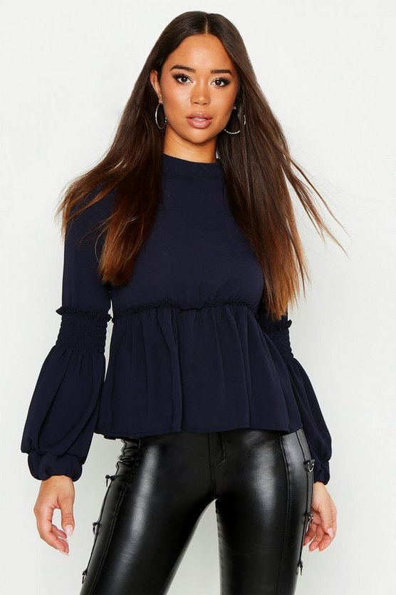 Womens Navy Woven Shirred Balloon Sleeve Blouse