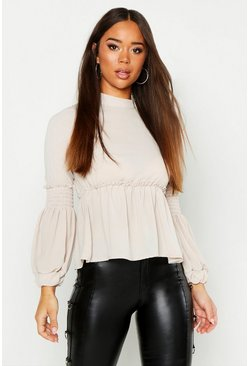 Woven Shirred Balloon Sleeve Blouse, Stone