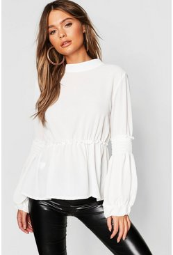 White Woven Shirred Balloon Sleeve Blouse