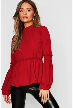 Womens Wine Woven Shirred Balloon Sleeve Blouse