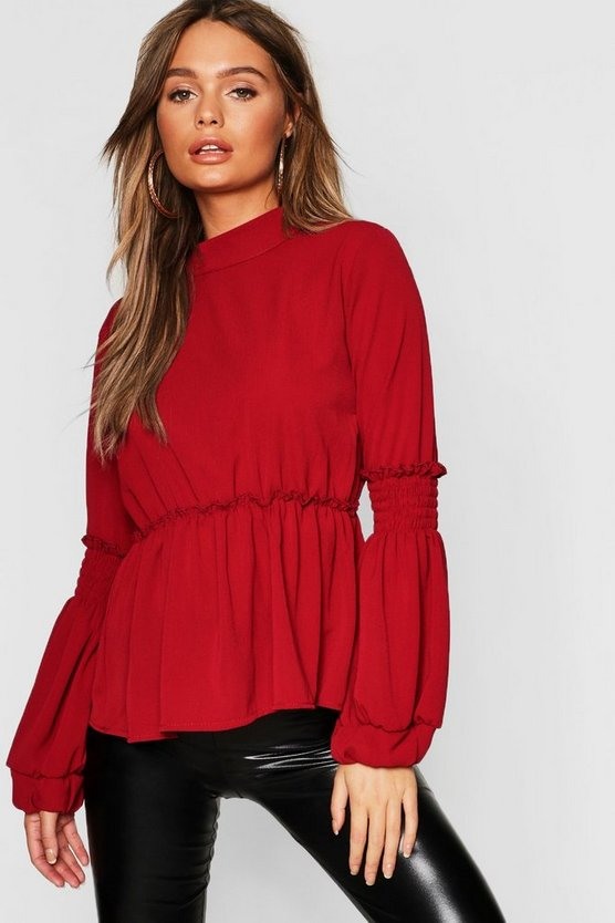 Woven Shirred Balloon Sleeve Blouse