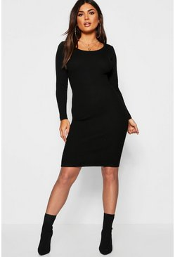 Womens Rib Knit Midi Dress